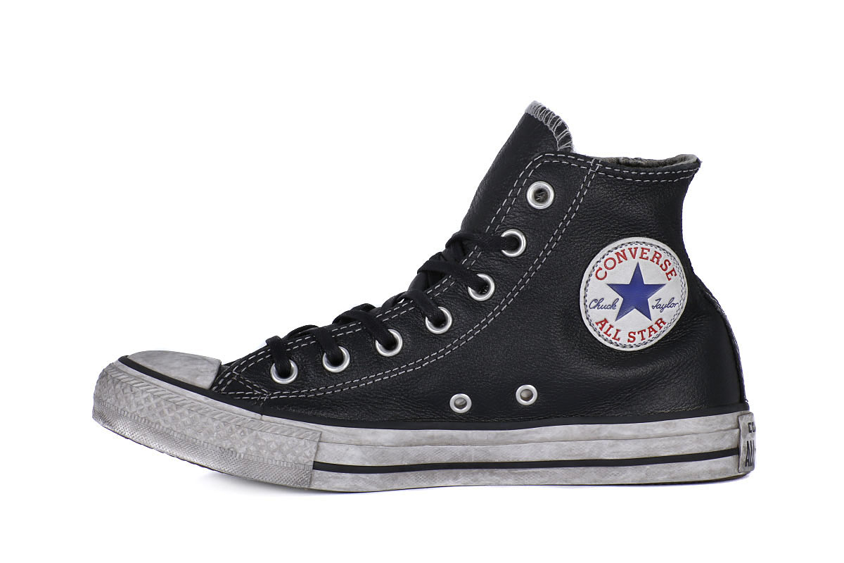 converse all star pelle nera uomo
