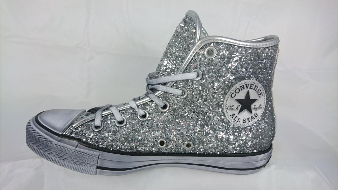 All Star Converse Glitter e Borchie 556817c Argento Personalizzate ... 2261c598a1fe