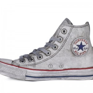 Converse All Star Hi Leather Uomo e Donna Pelle Vintage Concrete ...