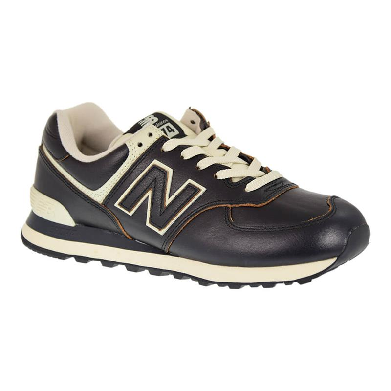 new balance 574 nere in pelle